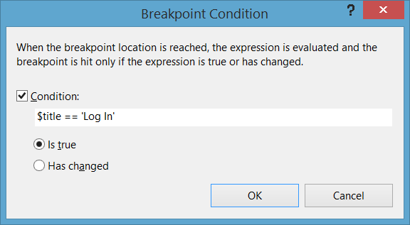 Conditional Breakpoint dialog