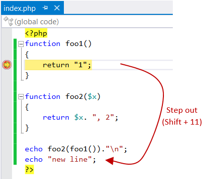 PHP specific Step Out