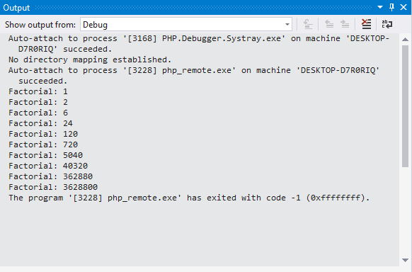 Tracepoint message in Output Pane