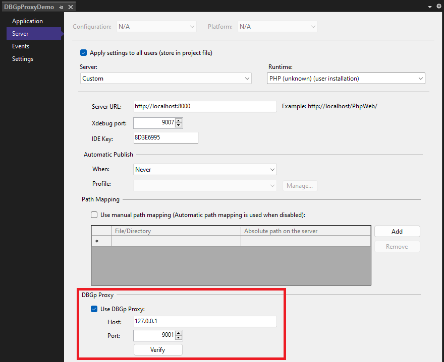 Setting of DBGp proxy in PHP Tools