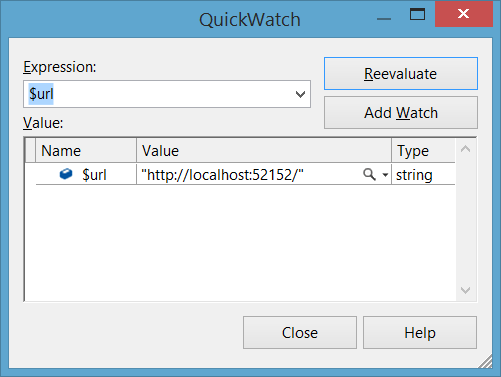QuickWatch dialog