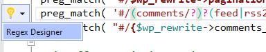 regex designer code action