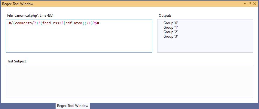 regex tool window