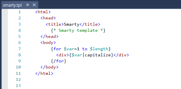 Smarty syntax highlighting