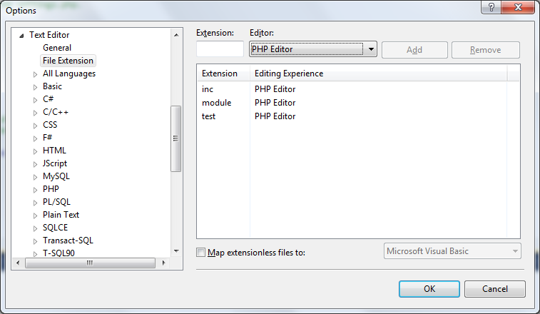 Custom file extensions mapping enabling PHP Editor within Visual Studio for additional file types