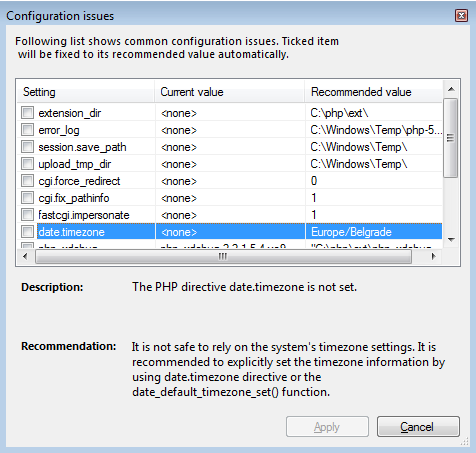 Issues dialog shown when a PHP configuration issue is found during project start or from PHP Tools Options