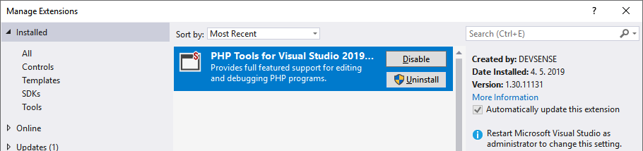 Uninstall | PHP Tools for Visual Studio Documentation