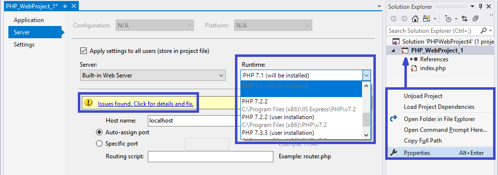 project PHP executable