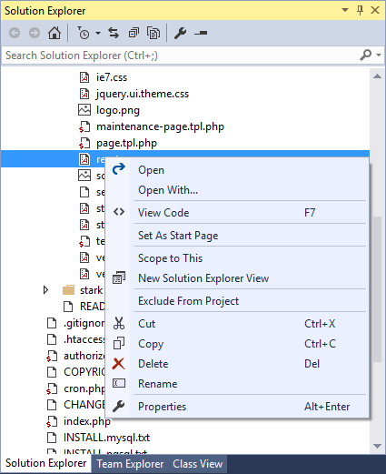 Solution Explorer | PHP Tools for Visual Studio Documentation