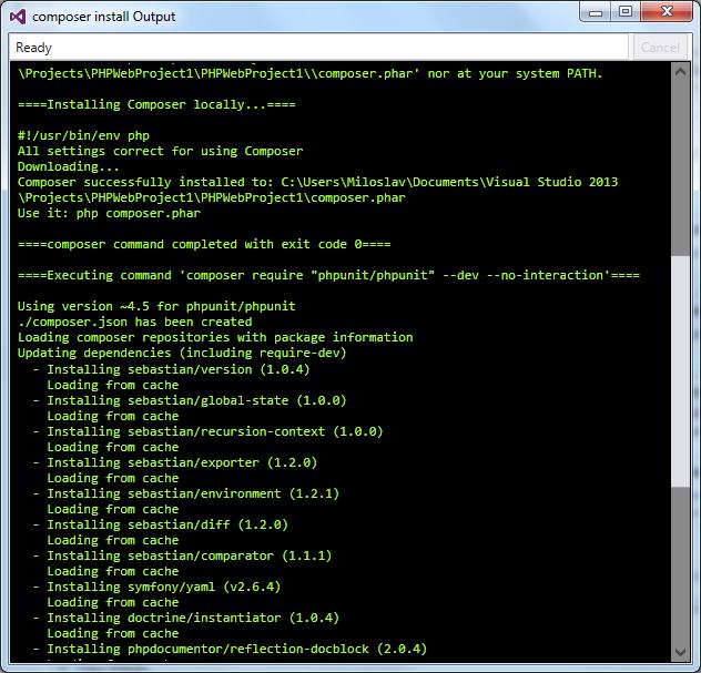 Composer install command output