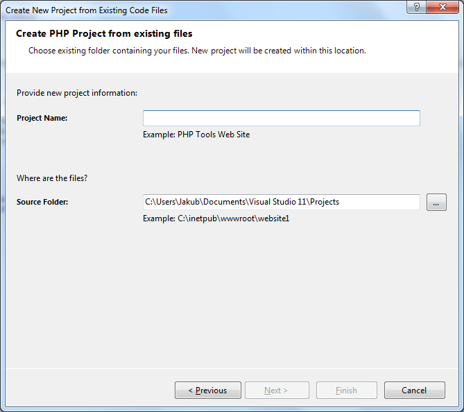 New Project from Existing Code | PHP Tools for Visual Studio