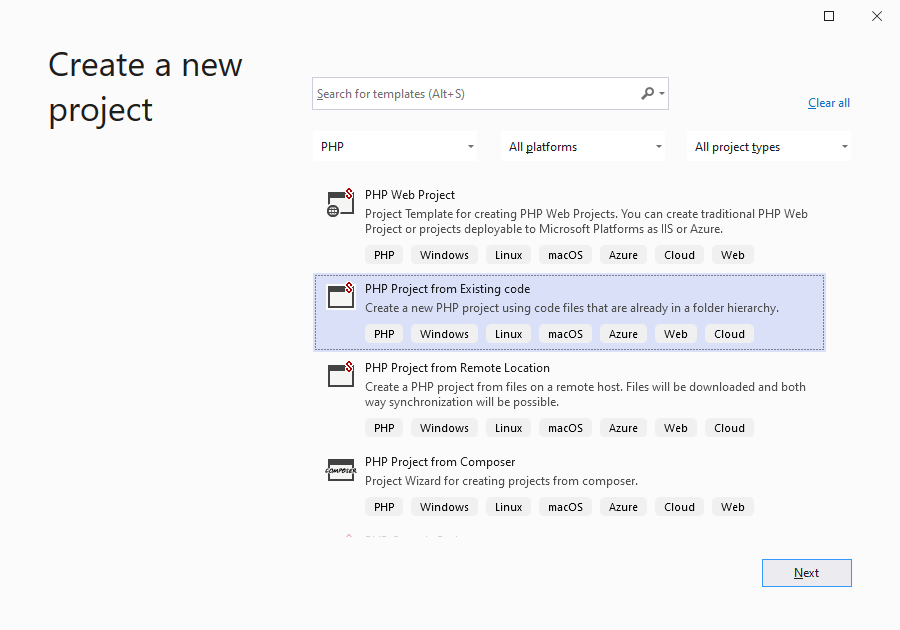 Visual Studio New PHP Project From Existing Code
