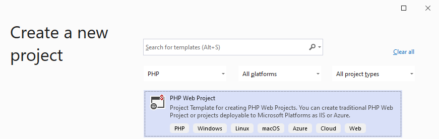 new php project template