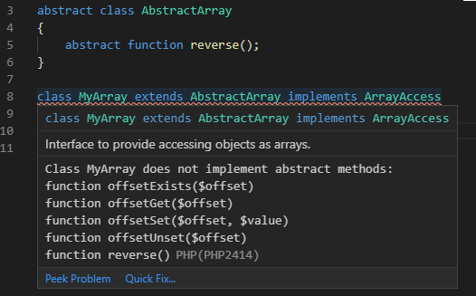 Class is missing implementation of abstract functions