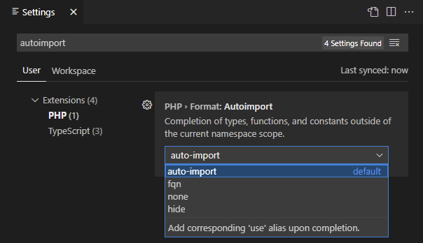 php auto import settings