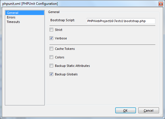 PHPUnit configuration